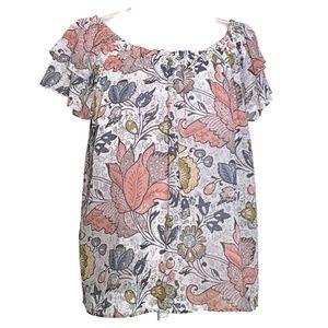 Loft shirt pullover ruffle sleeve print top large